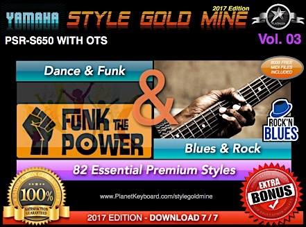StyleGoldMine Dance Funk og Blues Rock Vol. 03 Yamaha PSR-S650