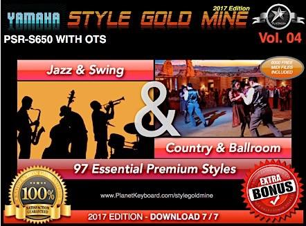 StyleGoldMine Swing Jazz og Country BallRoom Vol 04 Yamaha PSR-S650