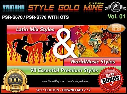 StyleGoldMine Latin Mix World Music Vol 01 Yamaha PSR-S670 PSR-S770 PSR-S775