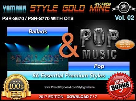 StyleGoldMine Ballads and Pop Vol 02 Yamaha PSR-S670 PSR-S770