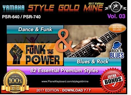 StyleGoldMine Dance Funk And Blues Rock Vol 03 Yamaha PSR-640 PSR-740