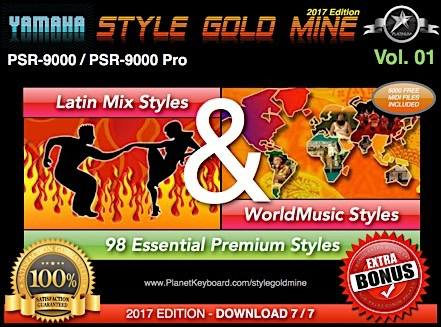 StyleGoldMine Latin Mix World Music Vol 01 Yamaha PSR-9000 PSR9000 Pro qator
