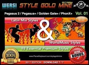 StyleGoldMine Latin Mix World Music Vol 01 Wersi Pegasus 2 Pegasus Plus Golden Gate Plus PhonX Plus