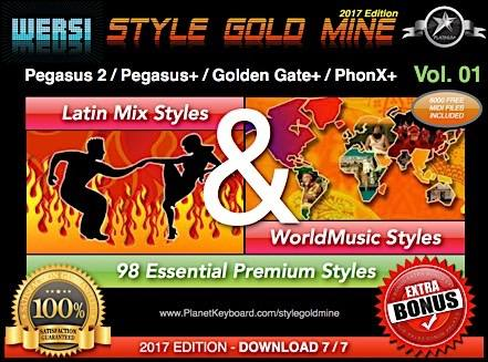 StyleGoldMine Latin Mix World Music Vol 01 Wersi Pegasus 2 Pegasus Plus Golden Gate Plus PhonX Plus