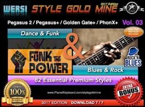StyleGoldMine Dance Funk and Blues Rock Vol 03 Wersi Pegasus 2 Pegasus Plus Golden Gate Plus PhonX Plus
