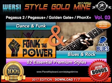 StyleGoldMine Dance Funk and Blues Rock Vol 03 Wersi Pegasus 2 Pegasus Plus Golden Gate Plus PhonX Plus