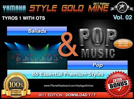 StyleGoldMine Ballads and Pop Vol 02 Yamaha Tyros Tyros 1 Only