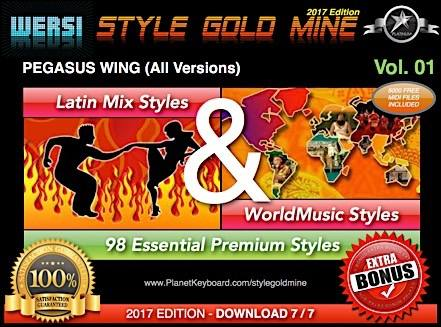 StyleGoldMine Latin Mix World Music Vol 01 Wersi Pegasus Wing All Versions