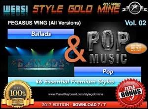StyleGoldMine Ballads and Pop Vol 02 Wersi Pegasus Wing All Versions