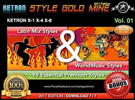 StyleGoldMine Latin Mix World Tónlist Vol 01 Ketron X-1 X-4 X-8 X Series