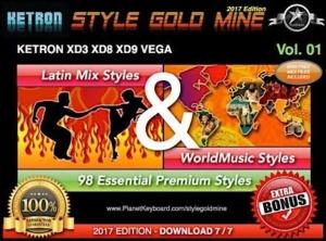 StyleGoldMine Latin Mix World Music Vol 01 Ketron XD3 XD8 XD9 XD Series & Vega