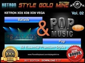 StyleGoldMine Ballads and Pop Vol 02 Ketron XD3 XD8 XD9 XD Series & Vega
