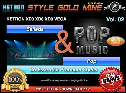 StyleGoldMine Ballads And Pop Vol 02 Ketron XD3 XD8 XD9 XD Series & Vega