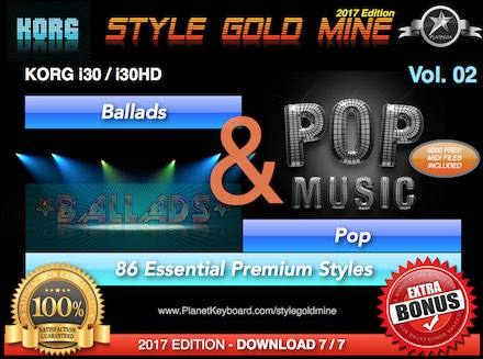 StyleGoldMine to'plamlari va Pop Vol 02 Korg I30 I30HD