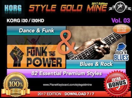 StyleGoldMine Dance Funk og Blues Rock Vol. 03 Korg I30 I30HD