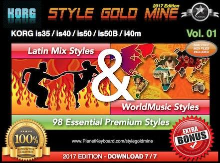 StyleGoldMine Latin Mix World Music Vol 01 Korg IS35 IS40 IS50 IS50B I40M