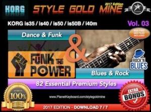 StyleGoldMine Dance Funk and Blues Rock Vol 03 Korg IS35 IS40 IS50 IS50B I40M