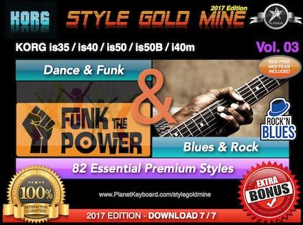StyleGoldMine Dance Funk and Blues Rock Vol 03 Korg IS35 IS40 IS50 IS50B I40M