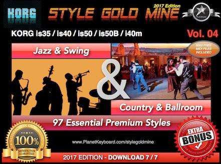 StyleGoldMine Swing Jazz va Country BallRoom Vol 04 Korg IS35 IS40 IS50 IS50B I40M