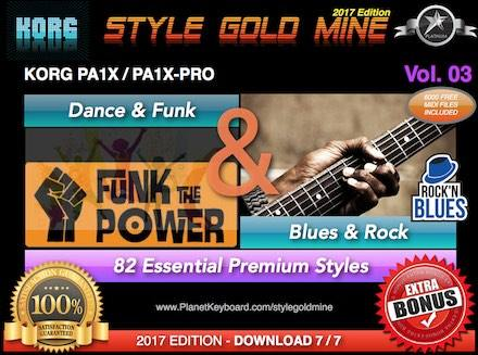StyleGoldMine Dance Funk og Blues Rock Vol. 03 Korg PA1X PA1X PRO