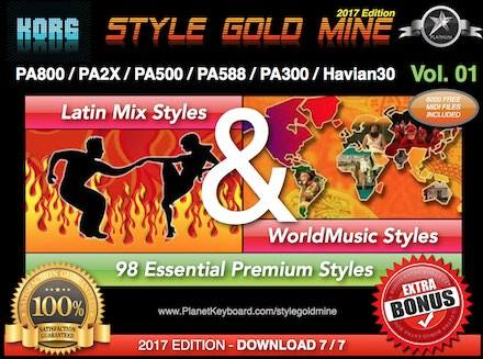 StyleGoldMine Latin Mix World Tónlist Vol 01 Korg PA800 PA2X PA500 PA588 PA300 Havian30