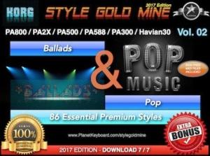 StyleGoldMine Ballads and Pop Vol 02 Korg PA800 PA2X PA500 PA588 PA300 Havian30