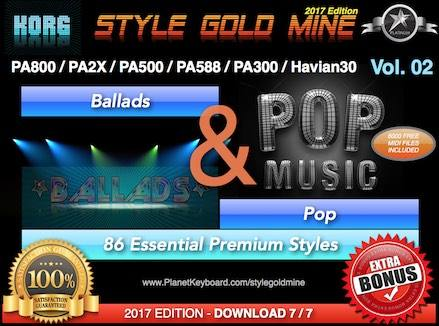 StyleGoldMine Ballads and Pop Vol 02 Korg PA800 PA2X PA500 PA588 PA300 Havian30