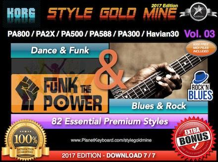 StyleGoldMine Dance Funk va Blues Rock Vol 03 Korg PA800 PA2X PA500 PA588 PA300 Havian30
