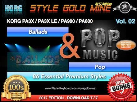 StyleGoldMine Ballads And Pop Vol 02 Korg PA3X PA3X LE PA900 PA600