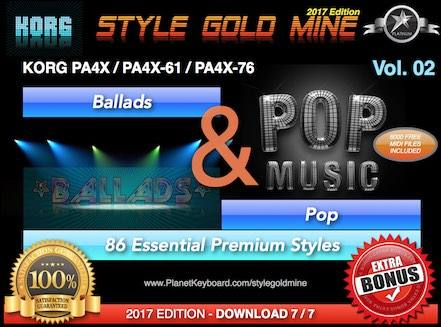 StyleGoldMine Ballads And Pop Vol 02 Korg PA4X PA4X-61 PA4X-76