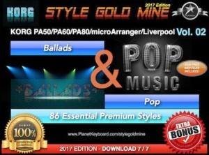 StyleGoldMine Ballads and Pop Vol 02 Korg PA50 PA60 PA80 microArranger Liverpool