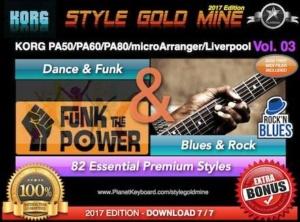 StyleGoldMine Dance Funk and Blues Rock Vol 03 Korg PA50 PA60 PA80 microArranger Liverpool