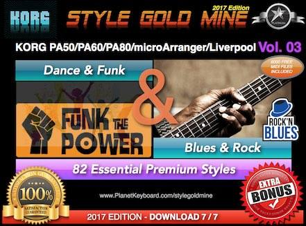 StyleGoldMine Dance Funk And Blues Rock Vol 03 Korg PA50 PA60 PA80 EK-50 MicroArranger Liverpool