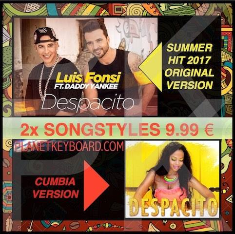 "Universal Top Songstyle Hit ""despacito - Luis Fonsi / FT. Daddy Yanki ""Barcha klaviaturalar uchun - UTSH000001"