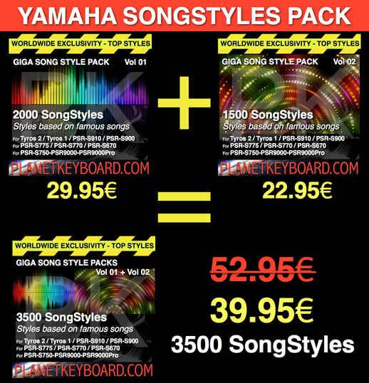 Yamaha SFF1 SongStyle 3500 Pack de styles de chansons avec OTS LIMITED TIME OFFER