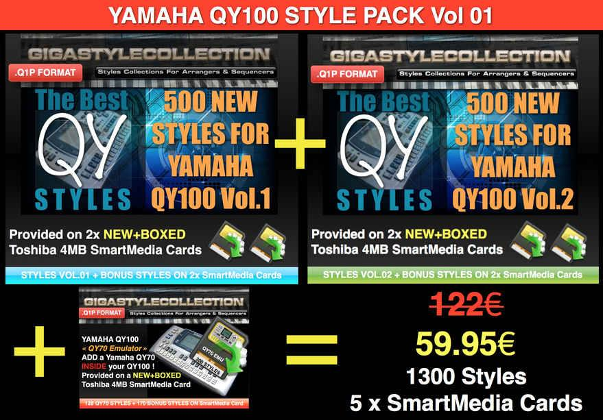 Yamaha QY-100 Style Pack 01 – 1300 Styles – 40000 Phrases LIMITED TIME OFFER