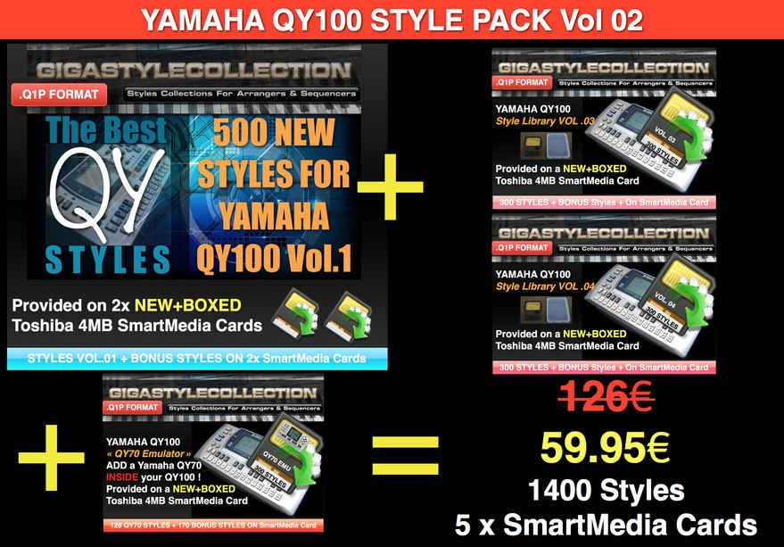 Yamaha QY-100 Style Pack 02 – 1400 Styles – 46000 Phrases LIMITED TIME OFFER