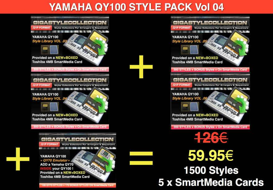 Yamaha QY-100 Style Pack 04 – 1500 Styles – 50000 Phrases LIMITED TIME OFFER