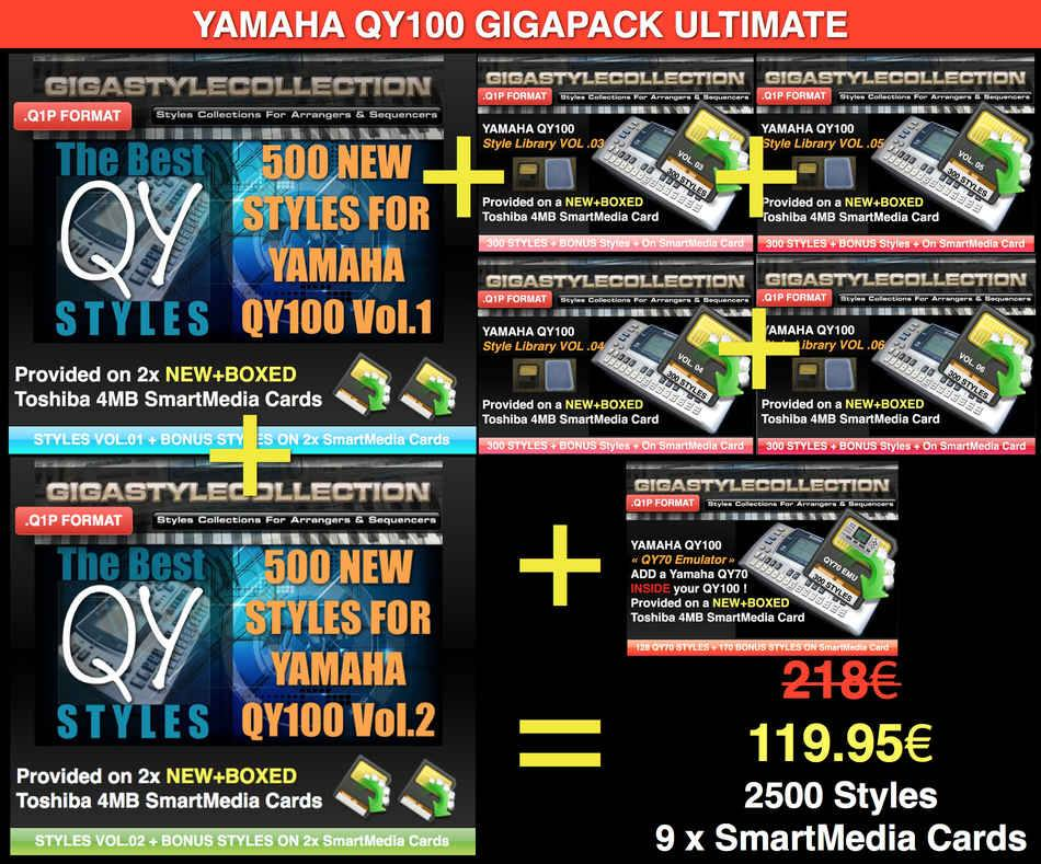Yamaha QY-100 GIGAPACK ULTIMATE – 2500 Styles – 83000 Phrases LIMITED TIME OFFER