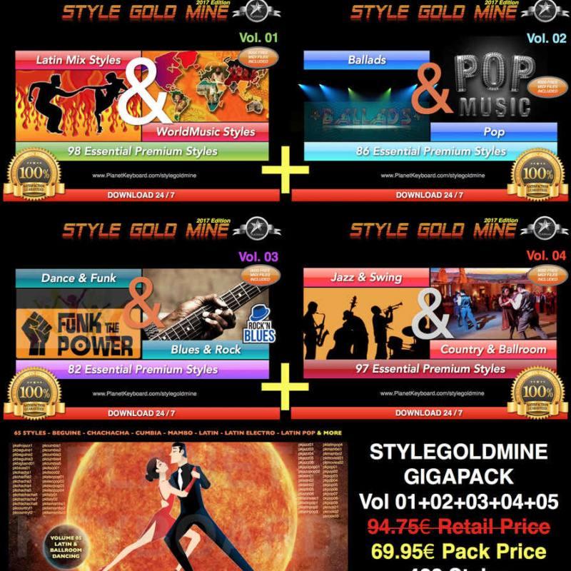 StyleGoldMine GIGAPACK (O'z ichiga oladi) StyleGoldMine Volume 01 dan 05 Volume)