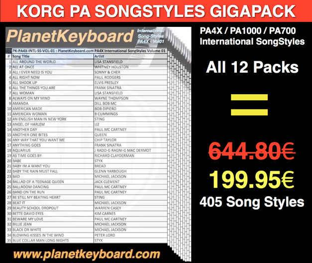 Korg PA4X/PA1000/PA700 SONGSTYLES GIGAPACK