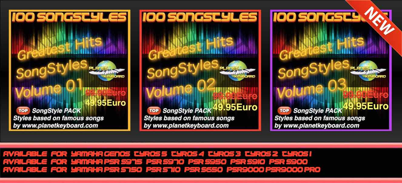NOVO: Yamaha Greatest Hits SongStyles Pack Zvezek 01 - Volume 02 - Volume 03
