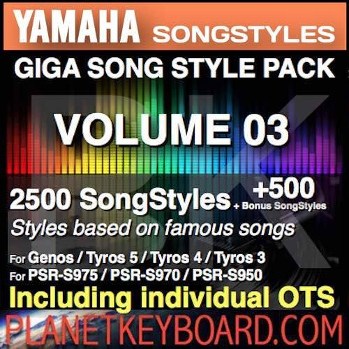 GIGA SONG STYLE PACK Vol 03 għal YAMAHA Keyboards - 2500 SongStyles + 500 Bonus Song Stylei ma OTS