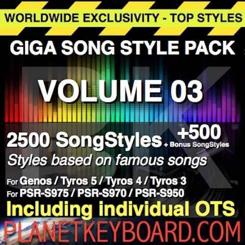GIGA SONG STYLE PACK Vol 03 – 2500 SongStyles + 500 Bonus Song Styles With OTS