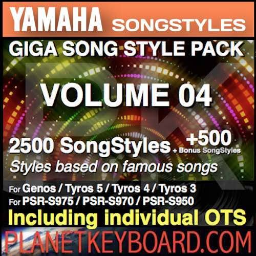 GIGA SONG STYLE PACK Vol 04 rau YAMAHA Keyboards - 2500 SongStyles + 500 Lawm Song Styles nrog OTS