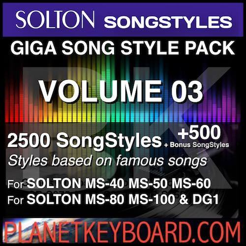 GIGA SONG STYLE PACK Vol 03 For SOLTON Keyboards – 2500 SongStyles + 500 Bonus Song Styles
