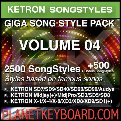 GIGA SONG STYLE PACK Vol 04 For KETRON Keyboards – 2500 SongStyles + 500 Bonus Song Styles