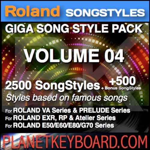 GIGA SONG STYLE PACK Vol 04 פֿאַר ROLAND Keyboards - 2500 SongStyles + 500 Bonus Song Styles