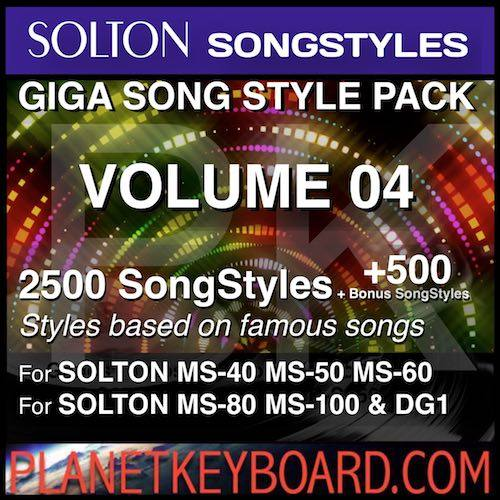 GIGA SONG STYLE PACK Vol 04 For SOLTON Keyboards – 2500 SongStyles + 500 Bonus Song Styles