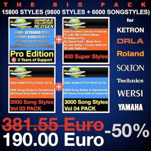 The Big Pack – 15800 Styles : Including GSCNEXTGEN Pro Ed°[9800 Styles] + 3Y. Support + [6000 Song Styles]  Style Pack Number 1